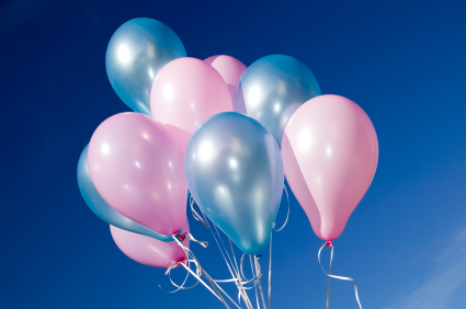 Colorful balloons and blue sky